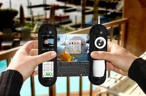 A mobile Phone/Computer with Expandable Screen كمبيوتر/محمول مثل الستارة عند الفتح يمكنك مشاهدة شاشة بين قسميه