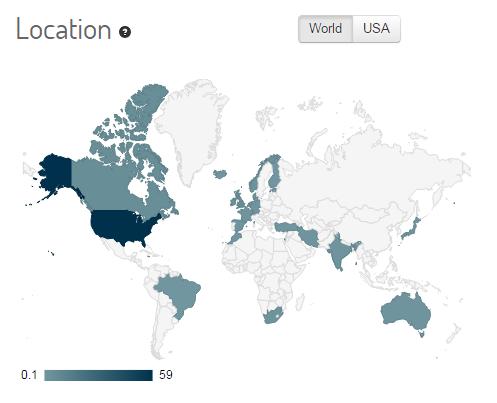 التوزيع الجغرافي للمغردين على وسم #AskHamas